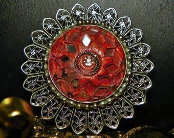 Unique Vintage Retro Brooch Silver Tone With Orange-Red Round Center Accent Pieces Of Mirror Ornate Filigree Fashion Design Antique Pin