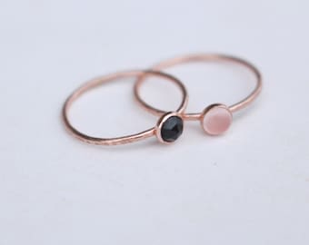 14K Rosé Gold stackable Ring with spinel