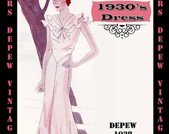 Vintage Sewing Pattern 1930's Dress in Any Size Depew 1038 Draft at Home Pattern- PLUS Size Included -INSTANT DOWNLOAD-