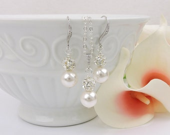 FREE US Ship Swarovski Pearl And Rhinestone Bridesmaid Necklace And Earring Set Bridesmaid Gift Swarovski Bridal Jewelry Pearl Jewelry Set