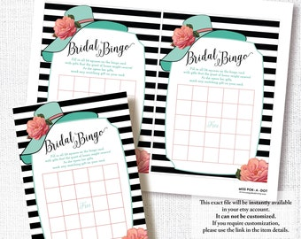 BIG HAT BINGO bridal shower game card diy instant digital download printable file off to the altar derby horse race party bingo game