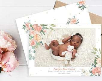 Baby Birth Announcement. Birth Announcement Girl. Birth Announcement Card. Floral Birth Announcement. Birth Announcement Template.