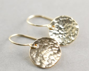 Hammered Disc Earrings, Gold Disc Earrings, Textured Coin Earrings