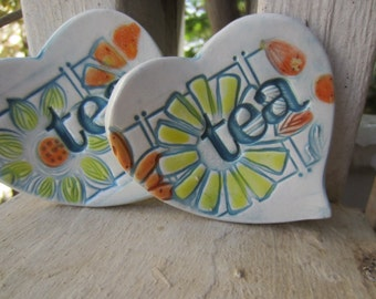 Blue and Yellow Heart Shaped Tea Bag Holders