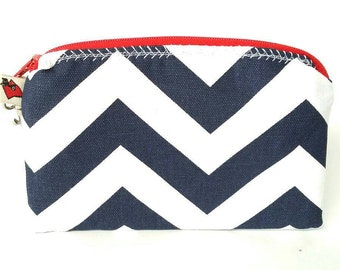 Navy/blue/white/red chevron wristlet/bag/pouch/purse with gold flecked wrist strap (not pictured)