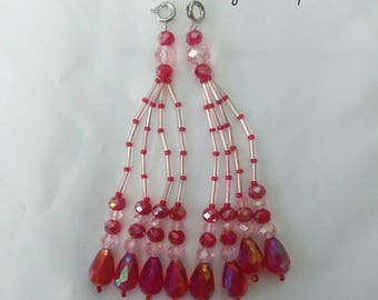 Pink and Red Beaded Nipple Tassels for Burlesque Pasties