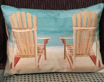 Custom Pillow Cover   ADIRONDACKS At The BEACH   Peaceful Beach Living    Decorative Pillow Beach Chair