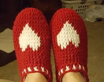 Crochet adult slippers, handmade.