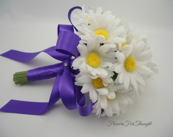 Daisy Wedding Bouquet, Bride or Bridesmaids Flowers, White and Purple