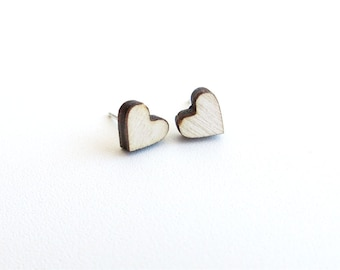 Tiny Wood Heart Stud Earrings Sterling Silver 925 Love Jewelry Romantic Valentines Day Mini Post Earrings Simple Minimalist Jewelry