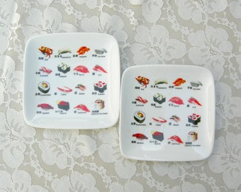 2 Sushi Ceramic Plates, fun plates for sushi, Japanese delicacies, desserts, sushi reference