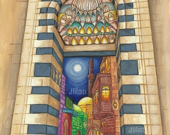 Original painting, Islamic art, Islam Muslim Artwork, Mosque, Syrian Egyptian Architecture, Aleppo Antique city, cityscape realism style