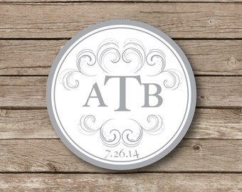 Personalized Monogrammed Stickers, scroll wedding monogram, wedding favor stickers, guest favors, bridal shower, glossy sticker set of 12