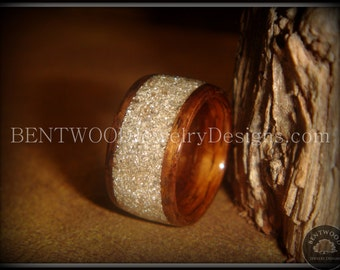 Bentwood Ring - Rosewood Wood Ring with Pulverized Glass Wide Inlay using the bentwood process for a durable and beautiful wood ring.