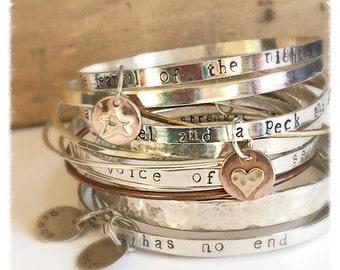 Personalized Message Bracelet, Engraved Bracelets Wanderlust Mantra Bracelet, Gift Bracelet Customized Jewelry Hidden Message Bracelet