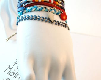 White multi strand women blue green red - ribbons and chains Cuff Bracelet