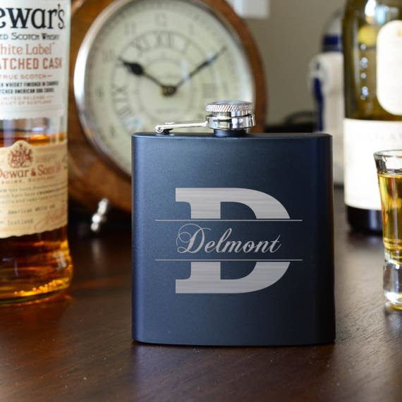 Personalized Steel Flask | Initial and Name Groomsman Flask |  Bridesmaid Wood Flasks | Wedding Party Gift | Best Man Flask | Custom Flask