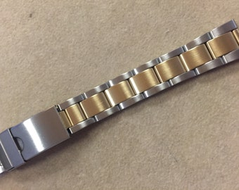 12mm to 14mm Two Tone Stainless Steel Multi-End Piece Link Watch Replacement Band