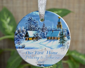 Personalized Christmas Ornament, Our new home ornament, Custom Christmas Ornament, Housewarming gift, Wedding gift, Christmas gift. o011