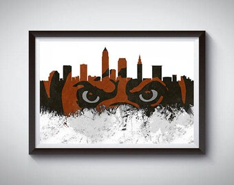 Cleveland Inspired Art Poster Print, Cleveland, Ohio Skyline Poster
