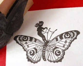 Fairy on Butterfly Rubber Stamp - Handmade by Blossom Stamps