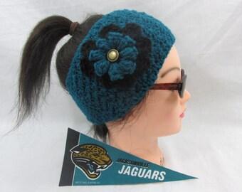 Jaguars Customize your nfl ear warmer,headband ,school team colors , winter sports NHL,NBA ,NFL colors , womens wear , football mom
