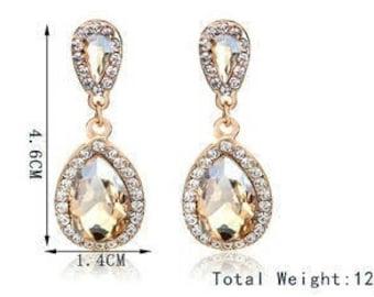Champagne swarovski crystal teardrop earrings