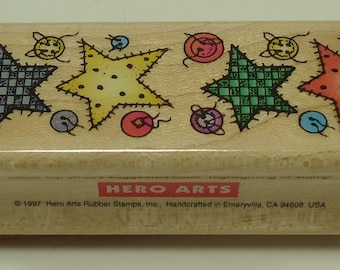 Star Patch Border Wood Mounted Rubber Stamp From Hero Arts C1156 Buttons, Sew, Sewing, Stars, Patchwork