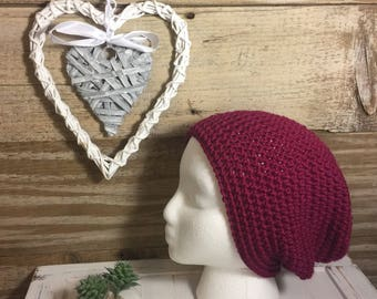Handmade Crochet Knit Soft Warm Simple Slouch Winter Hat/Toque/Beanie - burgundy/wine/berry