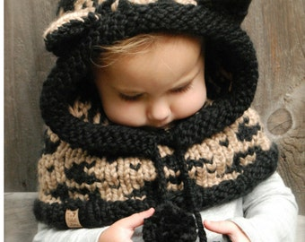 Knitting PATTERN-The Lexington Leopard Hood (12/18 months, Toddler,Child, Adult sizes)