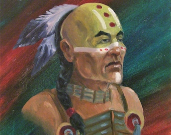 Native American, 11x14 Original Oil Painting on Board,One of a Kind, Not a Print