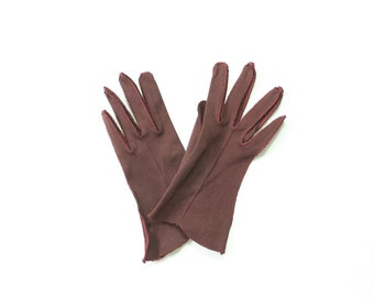50s Brown Woven Cotton Gloves 1950s Ladies Red Stitched Winter Fall Autumn Gloves / Mid-Century / Made in the USA / Size 7 / Small / Medium