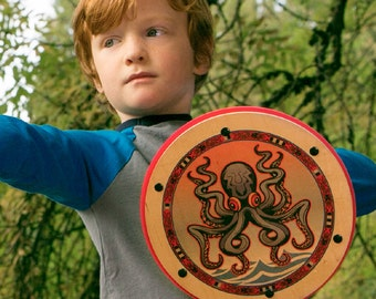 Wooden Shield - Pretend Play Toy for Kids - Handmade with Real Wood - Full Color Octopus Nautical Design