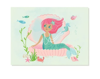 MERMAID wall art, canvas wall art, wall art for girls, bathroom art, nursery wall decor