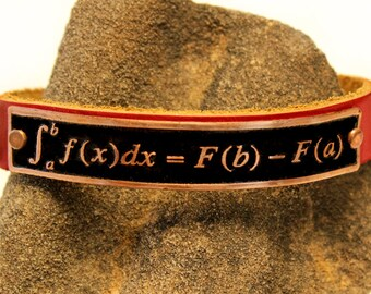 Etched copper and Leather calculus mathematics theorem design cuff bracelet