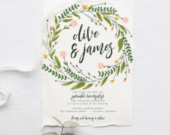 Greenery Wedding Invitation Suite DEPOSIT DIY Rustic