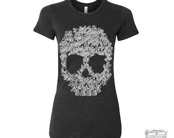 Womens BEES SKULL T-Shirt -hand screen printed s m l xl xxl (Color Options) custom
