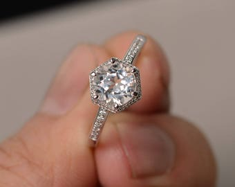Natural White Topaz Rings Sterling Silver Engagement Ring Round Cut Gemstone Jewelry