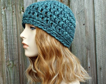 Turquoise Blue Beanie Blue Hat - Crochet Womens Hat Blue Mens Hat - Blue Womens Hat Warm Winter Hat - READY TO SHIP