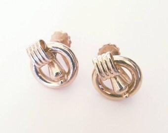 SALE | Vintage 1950s Gold Art Deco Style Screw Back Earrings