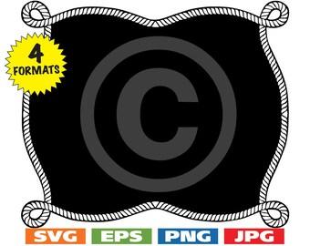 Rope Border/Frame-001 Clip Art Image - svg cutting file PLUS eps/vector, jpg, png - 300dpi