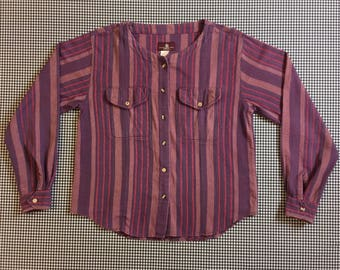 1990's, woven, striped, collarless, button front blouse, in purples, Women's size Small/Medium