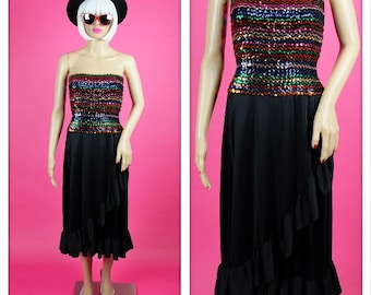 Vintage 1970s Sequin Tube Top Disco Party Dress