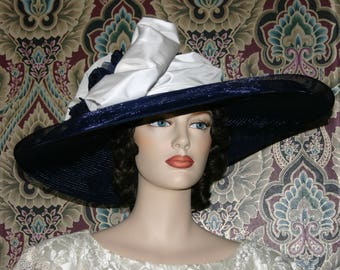 Kentucky Derby Hat Ascot Edwardian Tea Party Hat Titanic Hat Somewhere in Time Hat Navy & White Hat- Titanic - Women's Wide Brim Hat