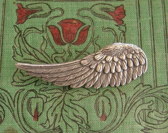 Silver Angel Wing, Bird Wing or Bird Feather Brooch, Antiqued Silver brooch or Pin
