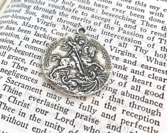 """St George Medal - 1 1/4"""" - Sterling Silver or Bronze - Patron of  horseman, scouts, soldiers - Bronze Medal - Reproduction (M-1339)"""
