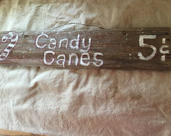Holiday decor Primitive Candy Cane Sign
