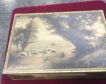 "Vintage Large Tin,  1940s or 1950s, ""Uneeda"" Biscuit Tin"