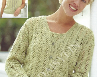 PDF Instant Digital Download ladies double knitting top & cardigan knitting pattern 32 to 42 inch bust size 10 to 20 (154)