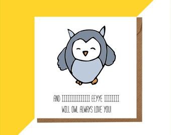 Owl card - Owl Greeting card - Owl Love card - whitney houston card - Owl Lover card - Owl Gift - Owl Birthday Card - OWL Anniversary card